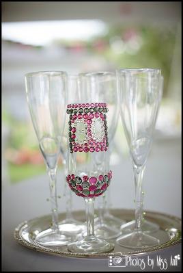 30th Birthday Party Bling Rhinestone Champagne Glass