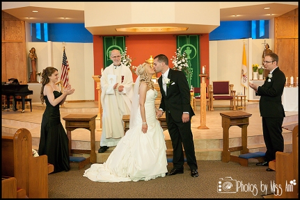 Church Wedding Kiss Photos by Miss Ann