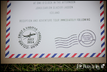 Destination Wedding Invitations Airmail Stamps Vintage Invite for Iceland Wedding
