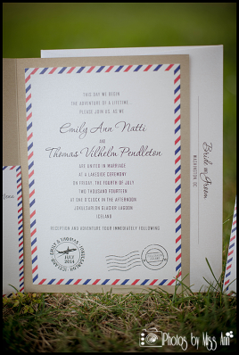 Detailed Wedding Invitations Airmail Wedding Invite Iceland Wedding