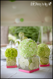 Lime Green and Pink Destination Wedding Centerpieces