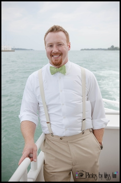 Groom Portraits on the Water Infinity Yacht Wedding Photos by Miss Ann