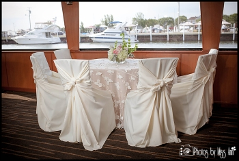 Reception Setup on Infinity Boat Wedding Photographer Michigan