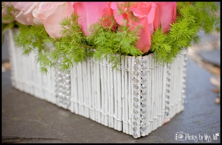 How to Bling out a Twig Flower Box as a Wedding Centerpiece