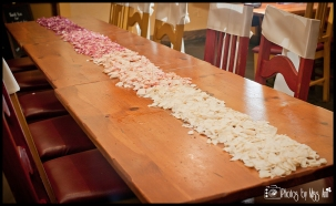 Iceland Wedding Reception Setup Ideas Rose Petal Table Runner Ombre Fade to Pink