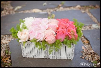 Ombre Rose Box DIY Iceland Wedding Reception Centerpieces