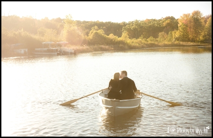 Sunset Kiss on a Row Boat Engagement Session Photos by Miss Ann
