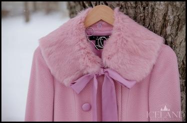 Arden B Pink Fur Bridal Coat Iceland Wedding Planner