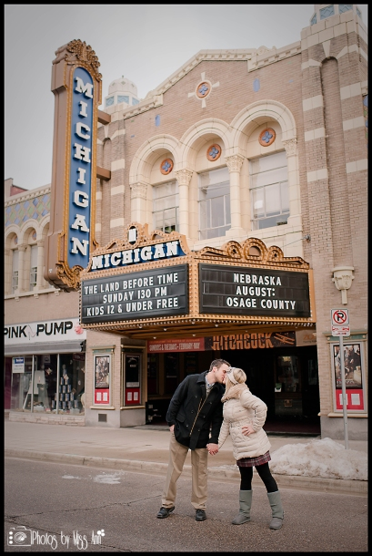 Historic Michigan Sign in Downtown Ann Arbor Engagement Session