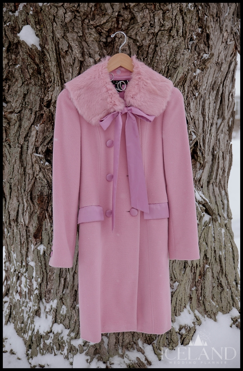 Iceland Wedding Coat Fur Trim Pink Wedding Coat
