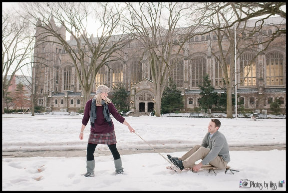 Playful Ann Arbor Michigan sledding engagement session