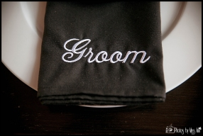 Embroidered black and white Groom Napkin Iceland Wedding Reception