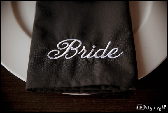 Iceland Wedding Embroidered Black and White Bride Napkin