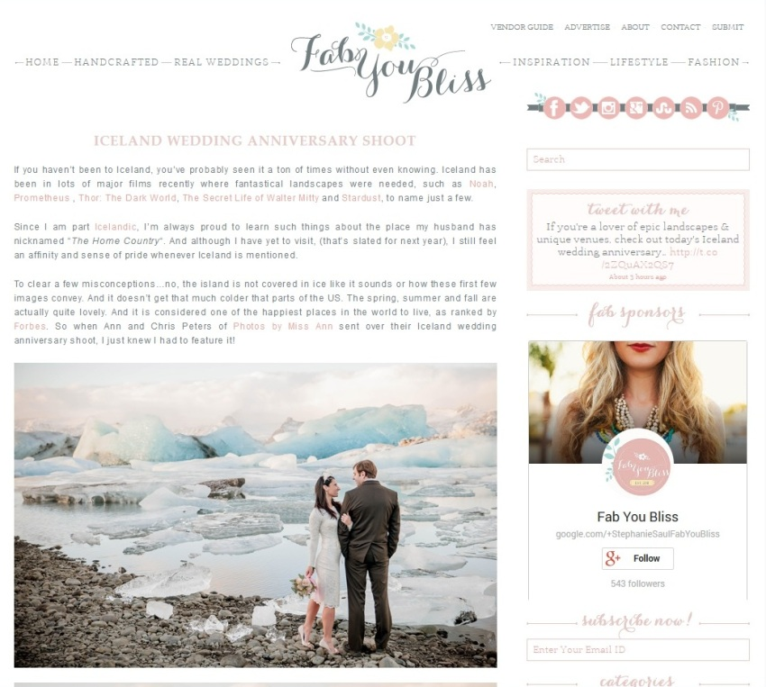 Iceland Wedding Photographer and Planner Published on Fab You Bliss