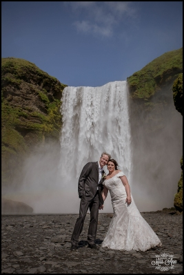 Iceland Wedding Bride and Groom and Skogafoss Waterfall