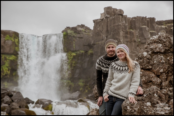 Iceland Engagement Session Oxararfoss Waterfall Thingvellir National Park