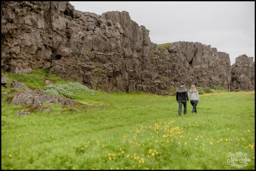 Iceland Lava Rock Wall Engagement Session Thingvellir National Park Wedding Photographer