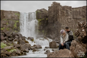 Iceland Pre Wedding Session Öxarárfoss Waterfall Þingvellir National Park