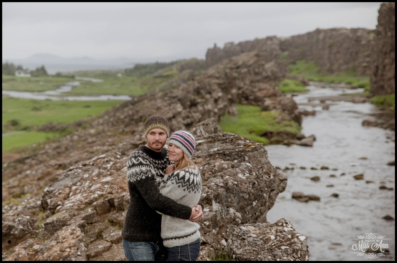 Oxararfoss Waterfall Thingvellir National Park Wedding Photographer Engagement Session
