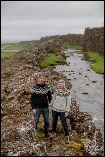 Thingvellir National Park Oxararfoss Waterfall Iceland Engagement Session