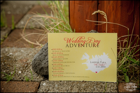 Iceland Destination Wedding Timeline Card