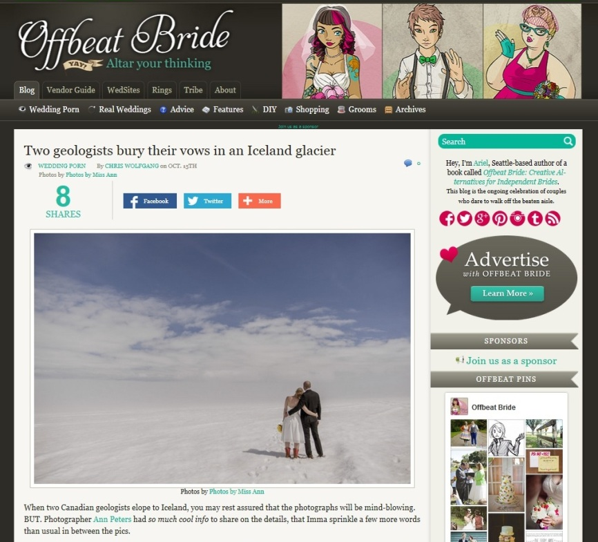 Iceland Elopement Featured on Offbeat Bride