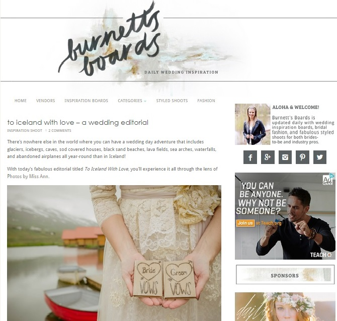 Iceland Wedding Planner Featured on Burnetts Boards