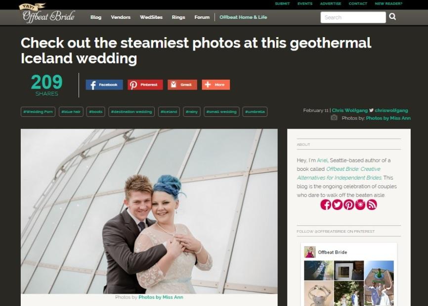 Iceland Wedding Photographer Published on Off Beat Bride
