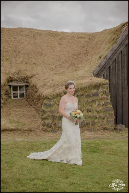 Bride in Iceland Keldur Sod Farm