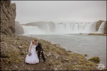 Iceland Waterfall Wedding Godafoss Kiss