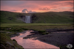Sunrise Skogafoss Waterfall Iceland