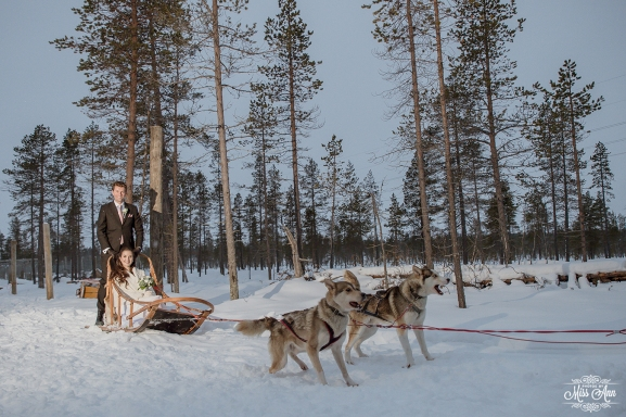 Winter Wedding Adventure Dog Sledding in Lapland