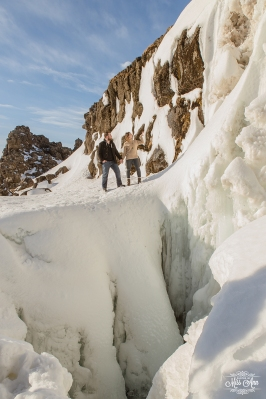 Frozen Waterfall Wedding Iceland Wedding Photographer