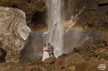 Iceland Waterfall Rainbow Wedding