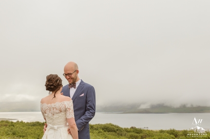 Iceland Wedding First Look - Hotel Glymur