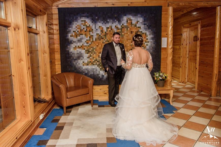 Iceland Wedding First Look at Hotel Ranga