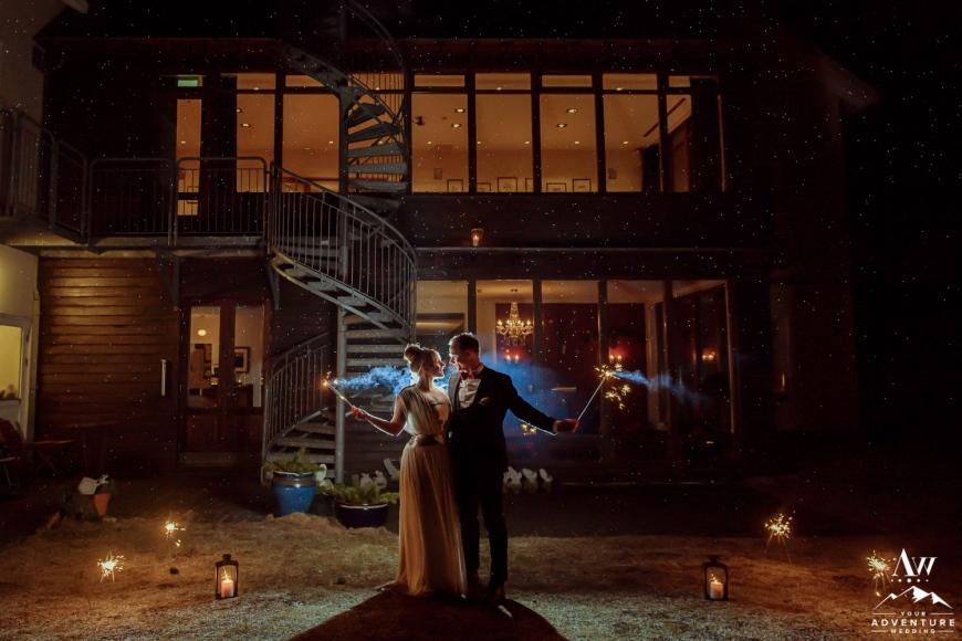 Hotel Budir-Iceland Nighttime Wedding Photos
